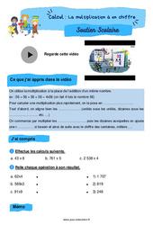 La multiplication à un chiffre - Soutien scolaire pour les élèves en difficulté. : 4eme Primaire