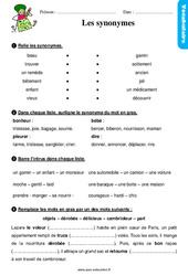 Les synonymes - Étude de la langue - Exercices avec les corrigés : 2eme Primaire