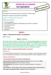 Les synonymes - Étude de la langue - Fiche de préparation : 2eme Primaire