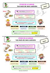 Les mots de sens contraire - Étude de la langue - Cours, Leçon : 2eme Primaire