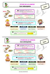 Les antonymes - Étude de la langue - Cours, Leçon : 3eme Primaire