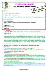 Les différents sens d'un mot - Étude de la langue - Fiche de préparation : 2eme Primaire