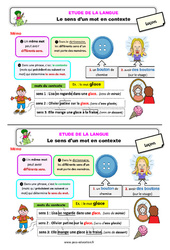 Le sens d'un mot en contexte - Étude de la langue - Cours, Leçon : 3eme Primaire