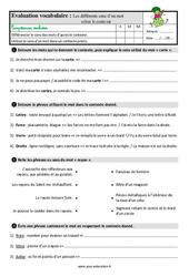 Le sens d'un mot en contexte - Étude de la langue - Examen Evaluation avec la correction : 3eme Primaire