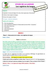 Les registres de langue - Étude de la langue - Fiche de préparation : 3eme Primaire