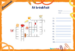 At breakfast - Mots fléchés - Lexique / vocabulaire - Crosswords : 4eme, 5eme Primaire