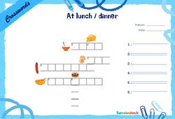 At lunch / dinner - Mots fléchés - Lexique / vocabulaire - Crosswords : 2eme, 3eme Primaire