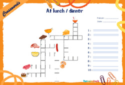 At lunch / dinner - Mots fléchés - Lexique / vocabulaire - Crosswords : 4eme, 5eme Primaire
