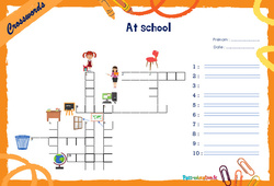At school - Mots fléchés - Lexique / vocabulaire - Crosswords : 4eme, 5eme Primaire