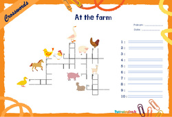 At the farm - Mots fléchés - Lexique / vocabulaire - Crosswords : 4eme, 5eme Primaire