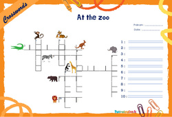 At the zoo - Mots fléchés - Lexique / vocabulaire - Crosswords : 4eme, 5eme Primaire