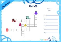 Clothes - Mots fléchés - Lexique / vocabulaire - Crosswords : 2eme, 3eme Primaire