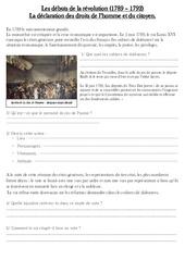 Débuts de la révolution (1789 - 1792) - Exercices - Les Temps Modernes : 4eme, 5eme Primaire