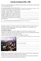 Fin de la révolution révolution (1789 - 1792) - Exercices - Les Temps Modernes : 4eme, 5eme Primaire