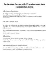 Révolution française et la déclaration des droits de l'homme et du citoyen - Cours, Leçon - Les Temps Modernes : 4eme, 5eme Primaire