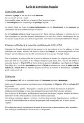 Fin de la révolution française - Cours, Leçon - Les Temps Modernes : 4eme, 5eme Primaire