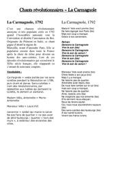Chant révolutionnaire la carmagnole - Les Temps Modernes : 4eme, 5eme Primaire