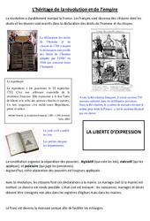 Héritage de la révolution et de l'empire - Exercices - Les Temps Modernes : 4eme, 5eme Primaire