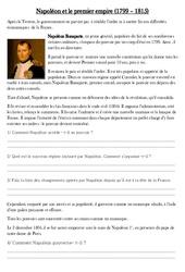 Napoléon et le premier empire - Exercices - Les Temps Modernes : 4eme, 5eme Primaire