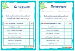 Écrire g, ge ou gu - Rituels - Orthographe : 2eme, 3eme Primaire