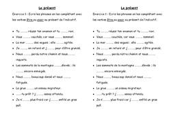 Présent - Exercices - Conjugaison : 3eme Primaire