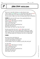 New York - Alicia Keys - Lecture compréhension en anglais : 3eme Secondaire