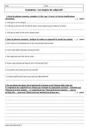 Emplois du subjonctif - Examen Evaluation avec le corrigé : 3eme Secondaire