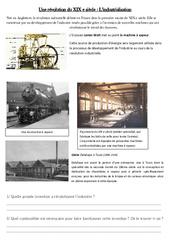Industrialisation - La révolution industrielle - XIX ème siècle - Exercices : 5eme Primaire