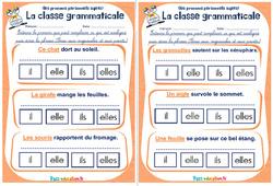 Les pronoms personnels sujets - Rituels - La classe grammaticale : 2eme, 3eme Primaire