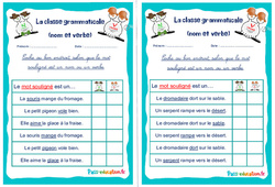 Nom et verbe - Rituels - La classe grammaticale : 2eme, 3eme Primaire