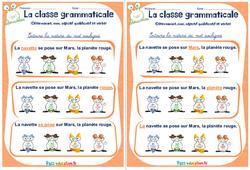 Déterminant, nom, adjectif qualificatif et verbe - Rituels - La classe grammaticale : 2eme, 3eme Primaire