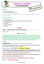 Les déterminants - Étude de la langue - Fiche de préparation : 2eme Primaire