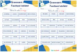 Fonctions (verbes) - Rituels - Grammaire : 2eme, 3eme Primaire