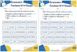 Fonctions (Sujet - verbe - complément) - Rituels - Grammaire : 2eme, 3eme Primaire