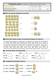 Connaître les relations entre centimes et euros - Examen Evaluation avec la correction : 2eme Primaire