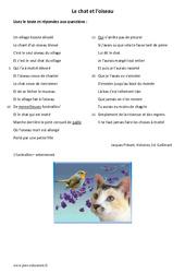 Le chat et l'oiseau - Lecture - Poésie : 6eme Primaire