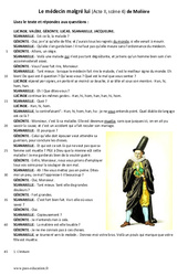 Le médecin malgré lui de Molière - Lecture théâtrale : 6eme Primaire