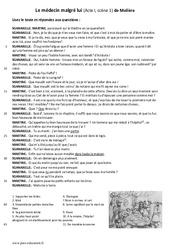 Le médecin malgré lui de Molière - (Acte I, scène 1) - Lecture théâtrale : 6eme Primaire