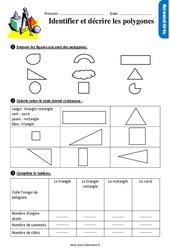 Identifier et décrire les polygones - Exercices avec les corrigés : 2eme Primaire