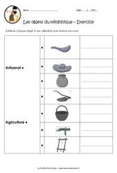 Objets du néolithique - Exercices : 3eme, 4eme Primaire