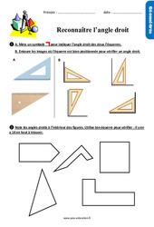 Reconnaître l'angle droit - Exercices avec les corrigés : 2eme Primaire