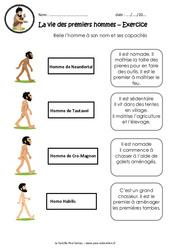 La vie des premiers hommes - Exercices : 3eme, 4eme Primaire