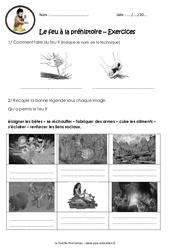 Le feu à la préhistoire - Exercices - Paléolithique : 3eme, 4eme Primaire