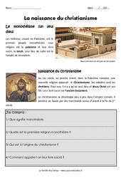 Naissance du christianisme - Exercices - Antiquité : 3eme Primaire
