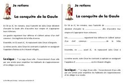 Conquête de la Gaule - Cours, Leçon - Antiquité : 3eme, 4eme Primaire