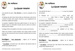 Gaule romaine - Cours, Leçon - Romanisation de la Gaule : 3eme, 4eme Primaire