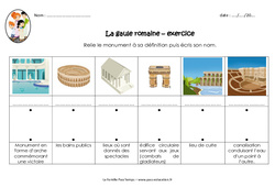 Monuments gallo romains - Exercices : 3eme, 4eme Primaire