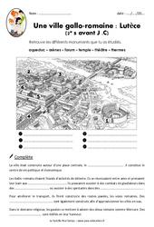 Une ville gallo - romaine - Lutèce - Exercices : 3eme, 4eme Primaire