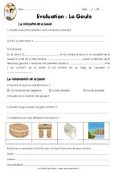 La Gaule - Examen Evaluation sur la conquête et la romanisation : 3eme, 4eme Primaire