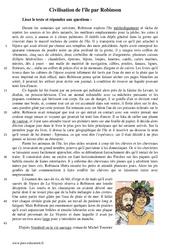 Civilisation de l'île par Robinson - Récit - Lecture : 1ere Secondaire
